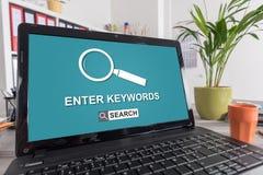 Keywords search concept on a laptop. Laptop screen with keywords search concept stock illustration