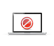 Laptop screen with the message forbidden Royalty Free Stock Photography