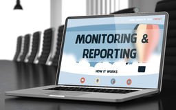 Laptop Screen with Monitoring and Reporting Concept. 3d. Monitoring and Reporting. Closeup Landing Page on Laptop Display. Modern Meeting Room Background Stock Photos