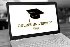 Online university concept on a laptop stock image