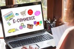 E-commerce concept on a laptop screen. Laptop screen showing e-commerce concept stock photo