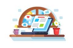 Laptop screen showing latest morning news. Social media network communication concept . Horizontal flat style. illustration vector illustration