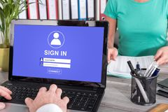 Sign in concept on a laptop Royalty Free Stock Images