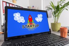 Start up concept on a laptop Stock Images