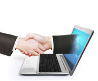 Laptop screen to shake hands Royalty Free Stock Photography