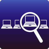 Laptop search. Finding a laptop with magnifying glass vector illustration