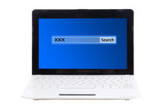 Laptop with search bar with xxx on screen isolated on white. Background stock image