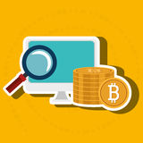 Laptop search bit coin Royalty Free Stock Images
