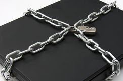 Laptop Secured with Lock and Chain Royalty Free Stock Image