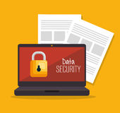 Laptop security data server document. Illustration eps 10 Royalty Free Stock Photo