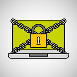 Laptop security padlock with chain concept Royalty Free Stock Images