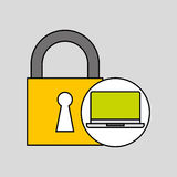 Laptop security padlock with chain concept. Vector illustration eps 10 Royalty Free Stock Image