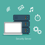 Laptop security server media network. Illustration eps 10 Royalty Free Stock Image