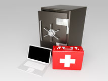 Laptop Security suite. 3D rendered Illustration. Unbalanced lightning Royalty Free Stock Photos