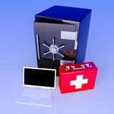 Laptop Security suite. 3D rendered Illustration. Unbalanced lightning Stock Photos