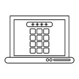 Laptop security system technology outline. Vector illustration eps 10 Stock Photo