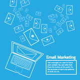 Laptop send email marketing Royalty Free Stock Images
