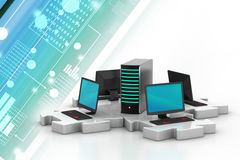 Laptop and server connect in puzzles Stock Photos