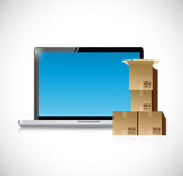 Laptop and set of boxes ready for shipping. Royalty Free Stock Images