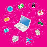 Laptop and Set of Computer and Electronics Icon Stock Photos