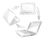 Laptop set. Computers connection Royalty Free Stock Photography