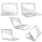 Laptop set. Notebook sketch icons Royalty Free Stock Photos