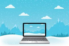 Laptop set on snow. Beautiful mountain view. Vector illustration Stock Image