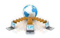 Laptop Sharing Folders Stock Photography