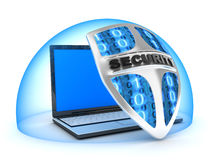 Laptop and shield. Shield antivirus and laptop, abstract (done in 3d Royalty Free Stock Photo