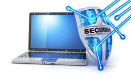Laptop and shield Stock Photography