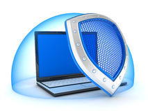 Laptop and shield Royalty Free Stock Image