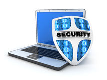 Laptop and shield antivirus Stock Photography