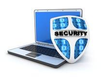 Laptop and shield antivirus Stock Photography