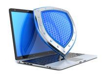 Laptop and shield antivirus Stock Image