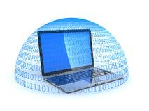 Laptop and shield antivirus binary Stock Photo
