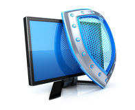 Laptop and shield. Shield antivirus and monitor (done in 3d Stock Photography