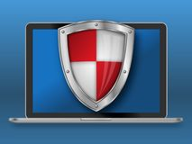 Laptop and shield with blue background vector illustration