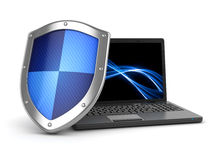 Laptop and shield Stock Images