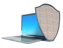 Laptop with shield - internet security. Antivirus or firewall Stock Images