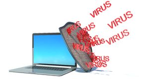 Laptop with shield - internet security. Antivirus or firewall Royalty Free Stock Images