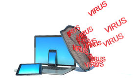 Laptop with shield - internet security. Antivirus or firewall Royalty Free Stock Photography