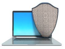 Laptop with shield - internet security, antivirus or firewall.  Royalty Free Stock Image