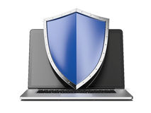 Laptop with shield. Isolated on a white background. 3d render Stock Photo