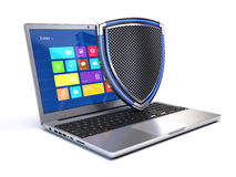 Laptop with shield Royalty Free Stock Photography