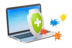 Laptop with shield, security and protection concept. 3D renderin. G isolated on white background Royalty Free Stock Image