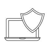 laptop shield server banner icon Stock Photos