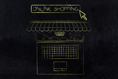 Laptop with shop awnings and shopping basket surrounded by price. Online shopping sales concept: laptop with shop awnings coming out of the screen and shopping Stock Photography
