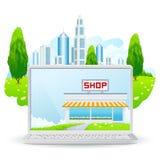 Laptop with Shop Building Stock Photos