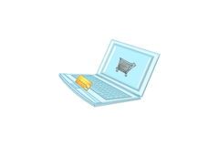 laptop shop cart Royalty Free Stock Photos