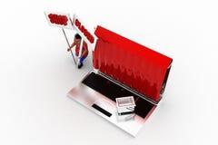 Laptop-Shop des Mann-3d geschlossen Lizenzfreies Stockbild
